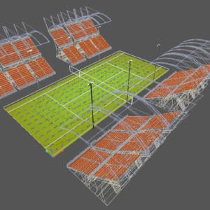 progetto in 3d di una ampo da tennis
