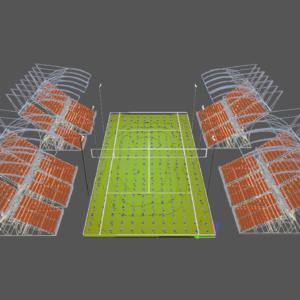 progetto 3d di un campo da tennis
