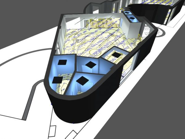 vista 3d di un progetto illuminotecnico di un negozio