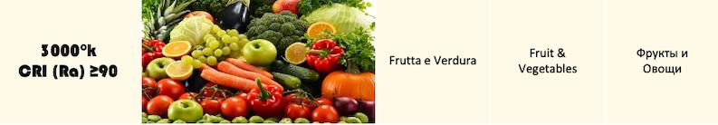 illuminazione led frutta e verdura